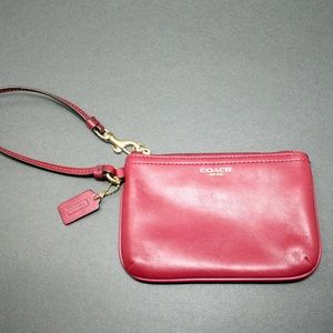 Coach Red Leather Wristlet Wallet Pouch